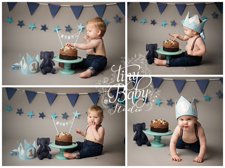 Tiny Baby Studio Baby Photography Cake Smash session
