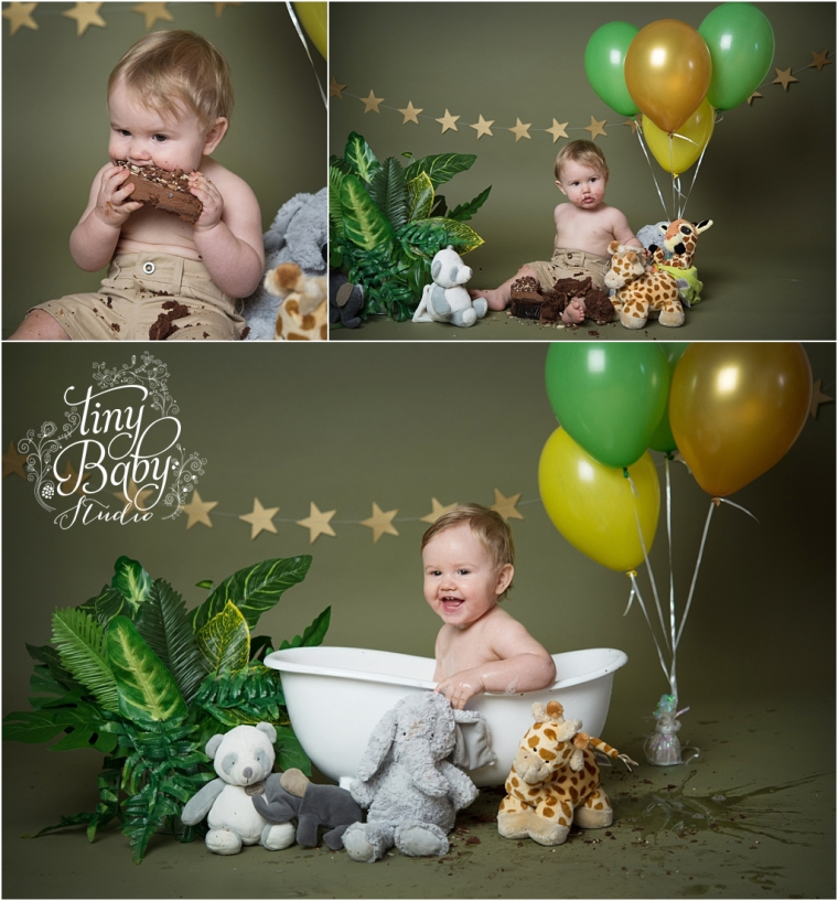 Tiny Baby Studio Newcastle newborn baby photographer cake smash