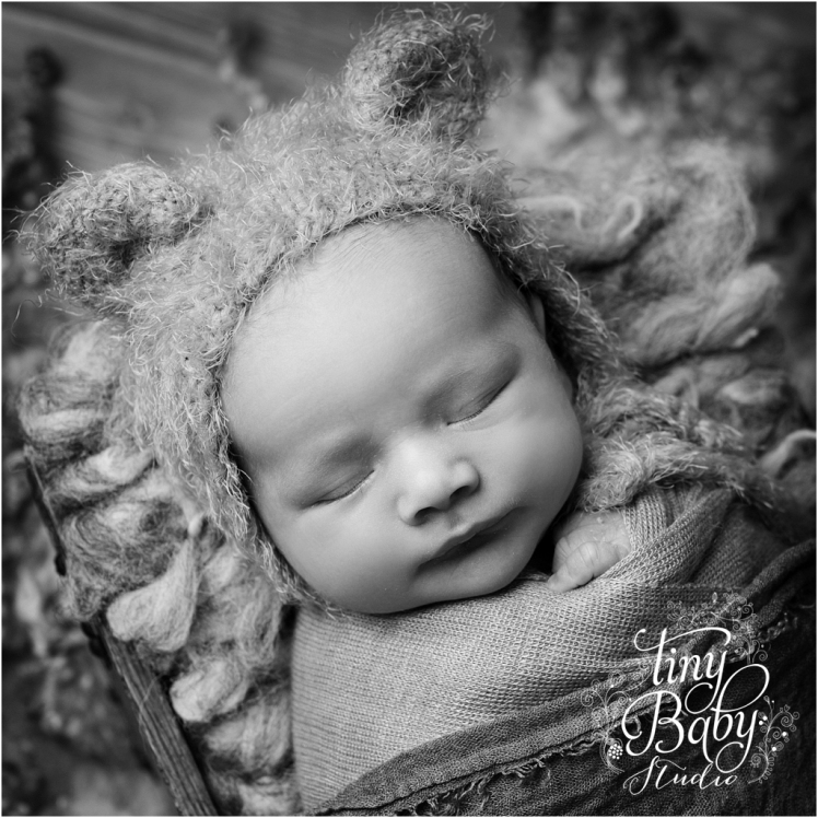 Tiny Baby Studio Newcastle newborn baby photographer newborn in bear hat