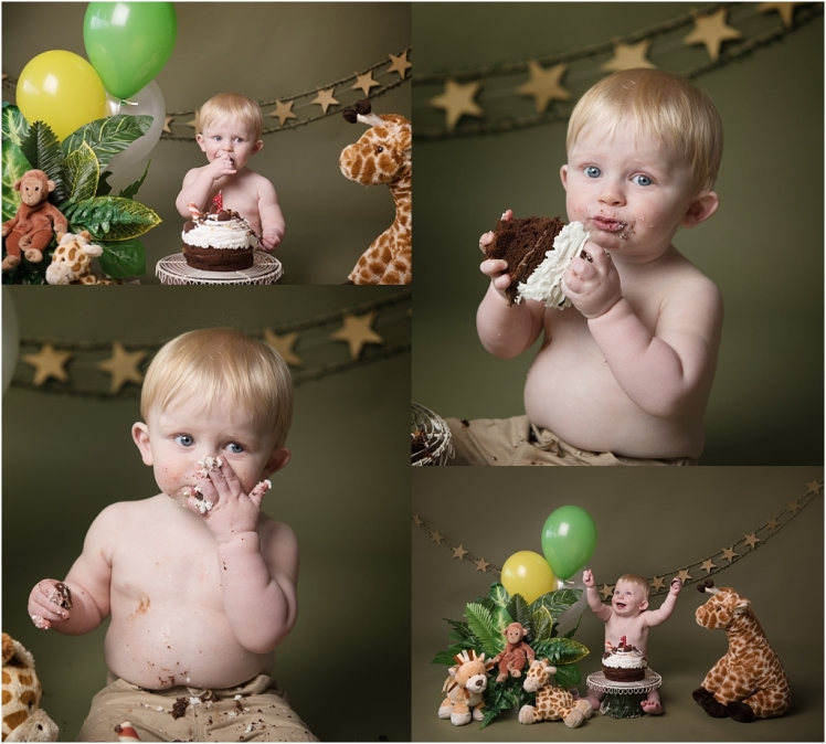 Tiny Baby Studio Newcastle Cake Smash for First Birthday Boys Jungle