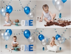 Tiny Baby Studio Newcastle Newborn Baby Photographer blue cake smash first birthday